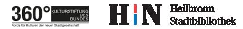 Das Bild zeigt das Logo der Kulturstiftung des Bundes 360° und das Logo der Stadt Heilbronn mit dem großen HN. Sie geben das Geld, damit die Lesung stattfinden kann.